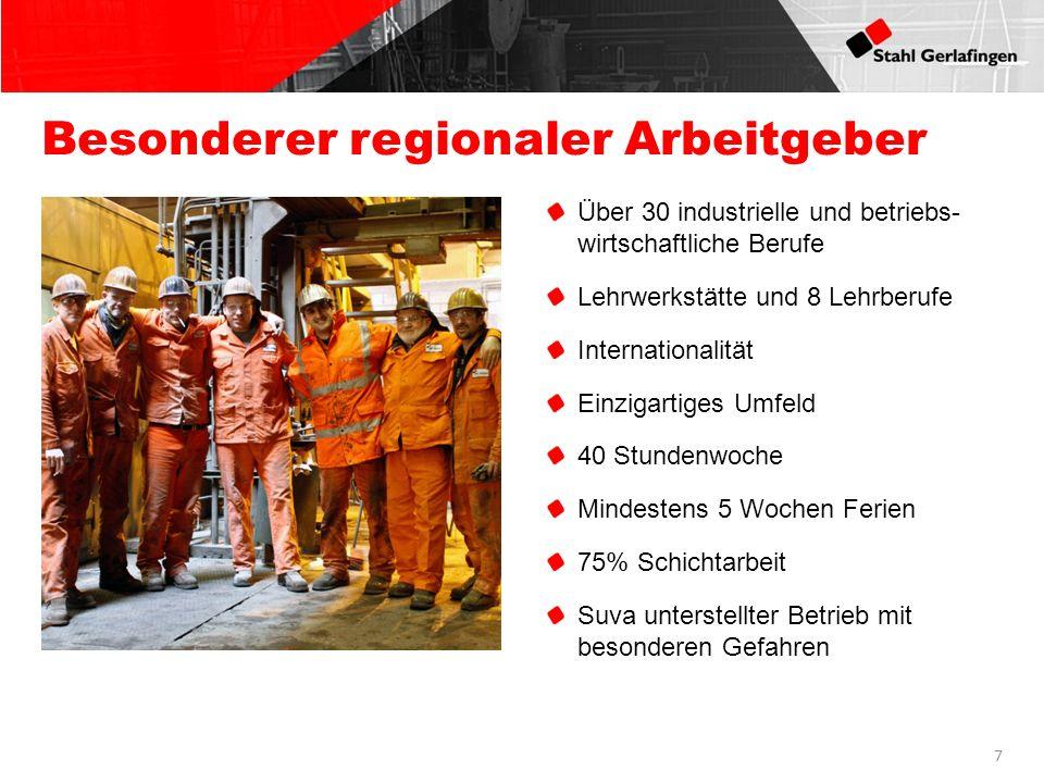 7 Besonderer regionaler Arbeitgeber Über 30 industrielle und betriebs- wirtschaftliche Berufe Lehrwerkstätte und 8 Lehrberufe Internationalität Einzig