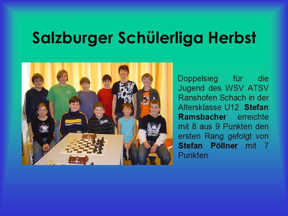 Salzburger Schülerliga Herbst Doppelsieg für die Jugend des WSV ATSV Ranshofen Schach in der Altersklasse U12.