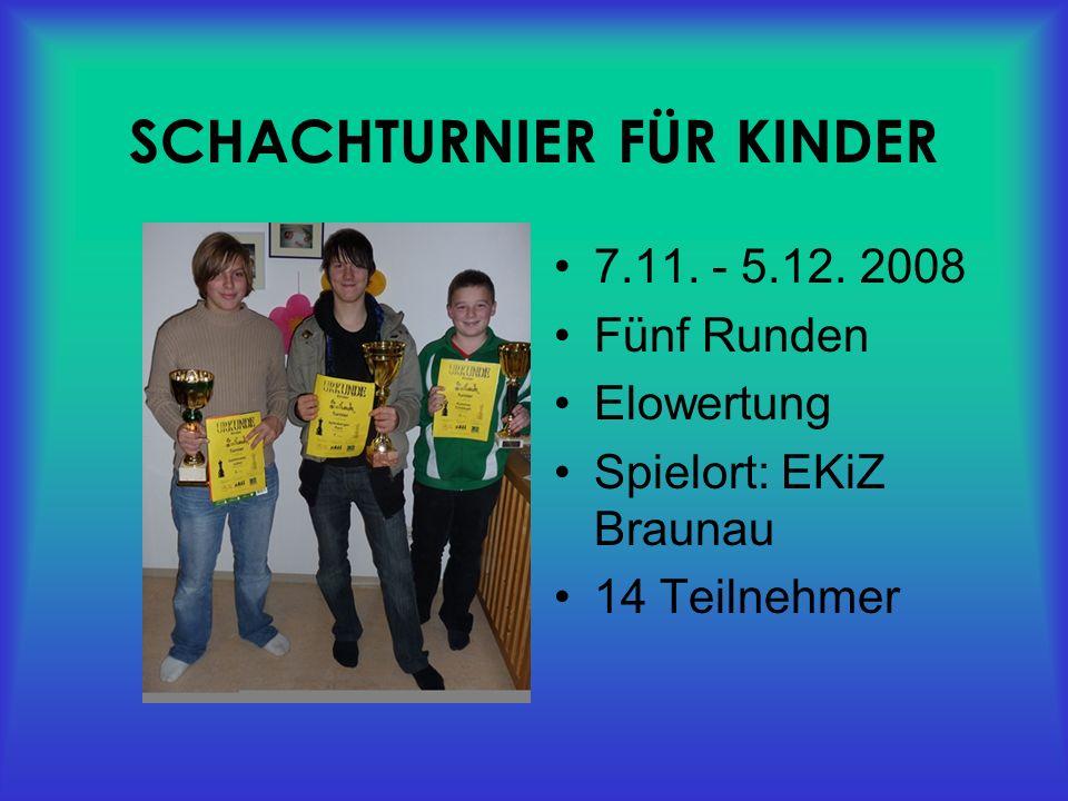 SCHACHTURNIER FÜR KINDER 7.11. - 5.12.