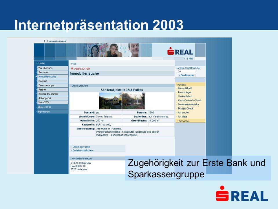 Internetpräsentation 2003 Zugehörigkeit zur Erste Bank und Sparkassengruppe