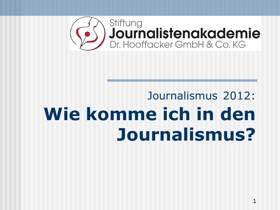 1 Journalismus 2012: Wie komme ich in den Journalismus?