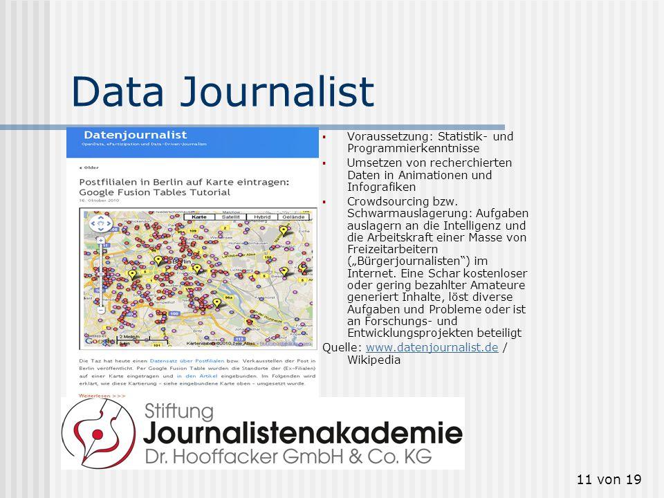 11 von 19 Data Journalist Voraussetzung: Statistik- und Programmierkenntnisse Umsetzen von recherchierten Daten in Animationen und Infografiken Crowds