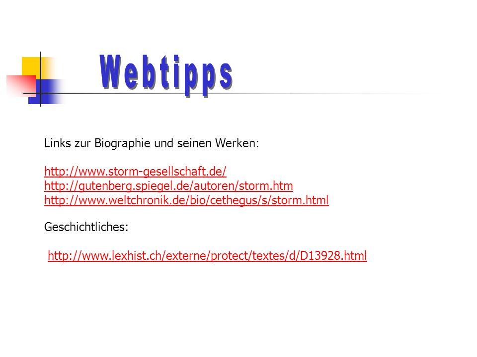 Links zur Biographie und seinen Werken: http://www.storm-gesellschaft.de/ http://gutenberg.spiegel.de/autoren/storm.htm http://www.weltchronik.de/bio/cethegus/s/storm.html Geschichtliches: http://www.lexhist.ch/externe/protect/textes/d/D13928.html
