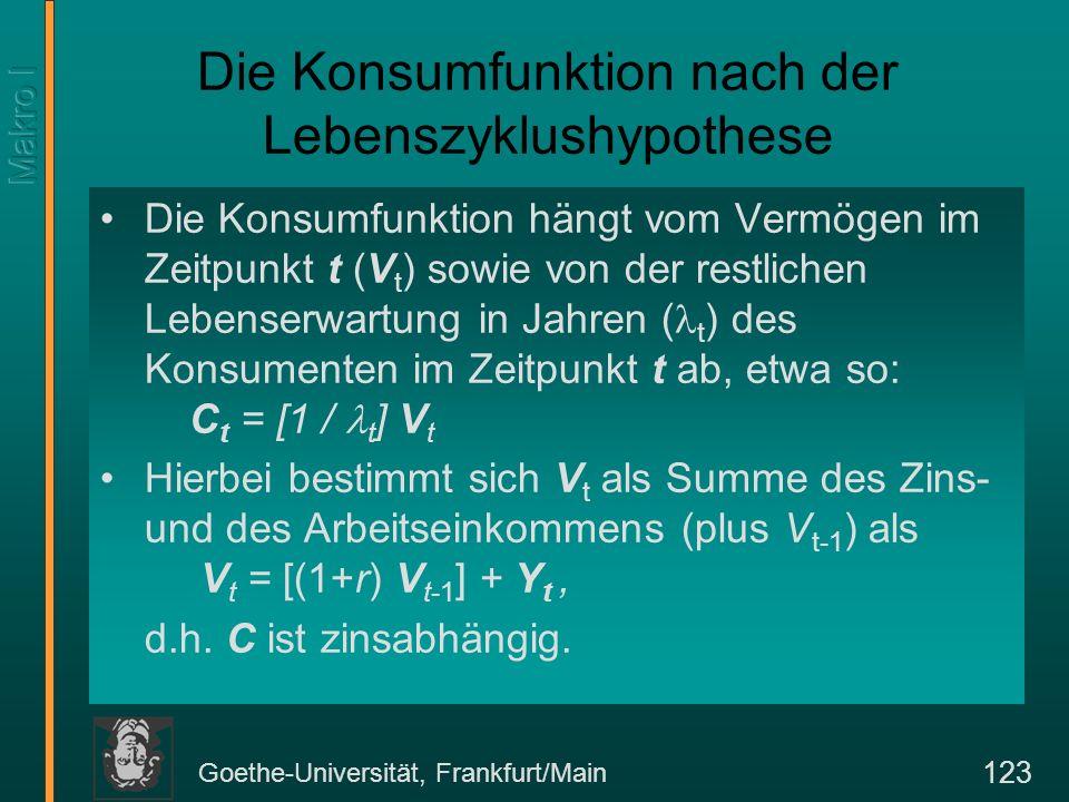 Goethe-Universität, Frankfurt/Main 123 Die Konsumfunktion nach der Lebenszyklushypothese Die Konsumfunktion hängt vom Vermögen im Zeitpunkt t (V t ) sowie von der restlichen Lebenserwartung in Jahren ( t ) des Konsumenten im Zeitpunkt t ab, etwa so: C t = [1 / t ] V t Hierbei bestimmt sich V t als Summe des Zins- und des Arbeitseinkommens (plus V t-1 ) als V t = [(1+r) V t-1 ] + Y t, d.h.