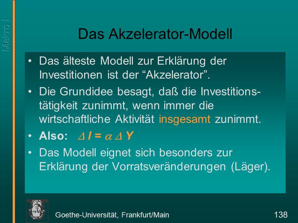 Goethe-Universität, Frankfurt/Main 138 Das Akzelerator-Modell Das älteste Modell zur Erklärung der Investitionen ist der Akzelerator.