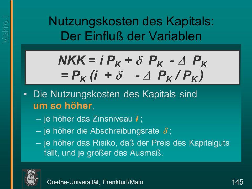 Goethe-Universität, Frankfurt/Main 145 Nutzungskosten des Kapitals: Der Einfluß der Variablen Die Nutzungskosten des Kapitals sind um so höher, –je höher das Zinsniveau i ; –je höher die Abschreibungsrate ; –je höher das Risiko, daß der Preis des Kapitalguts fällt, und je größer das Ausmaß.