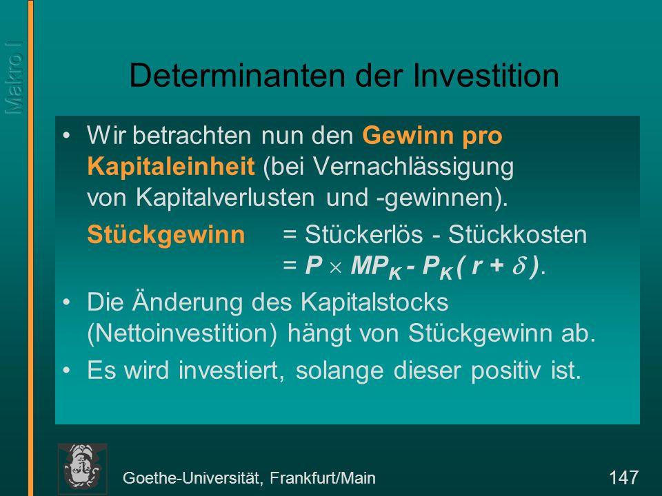 Goethe-Universität, Frankfurt/Main 147 Determinanten der Investition Wir betrachten nun den Gewinn pro Kapitaleinheit (bei Vernachlässigung von Kapitalverlusten und -gewinnen).