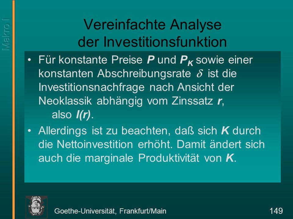 Goethe-Universität, Frankfurt/Main 149 Vereinfachte Analyse der Investitionsfunktion Für konstante Preise P und P K sowie einer konstanten Abschreibungsrate ist die Investitionsnachfrage nach Ansicht der Neoklassik abhängig vom Zinssatz r, also I(r).