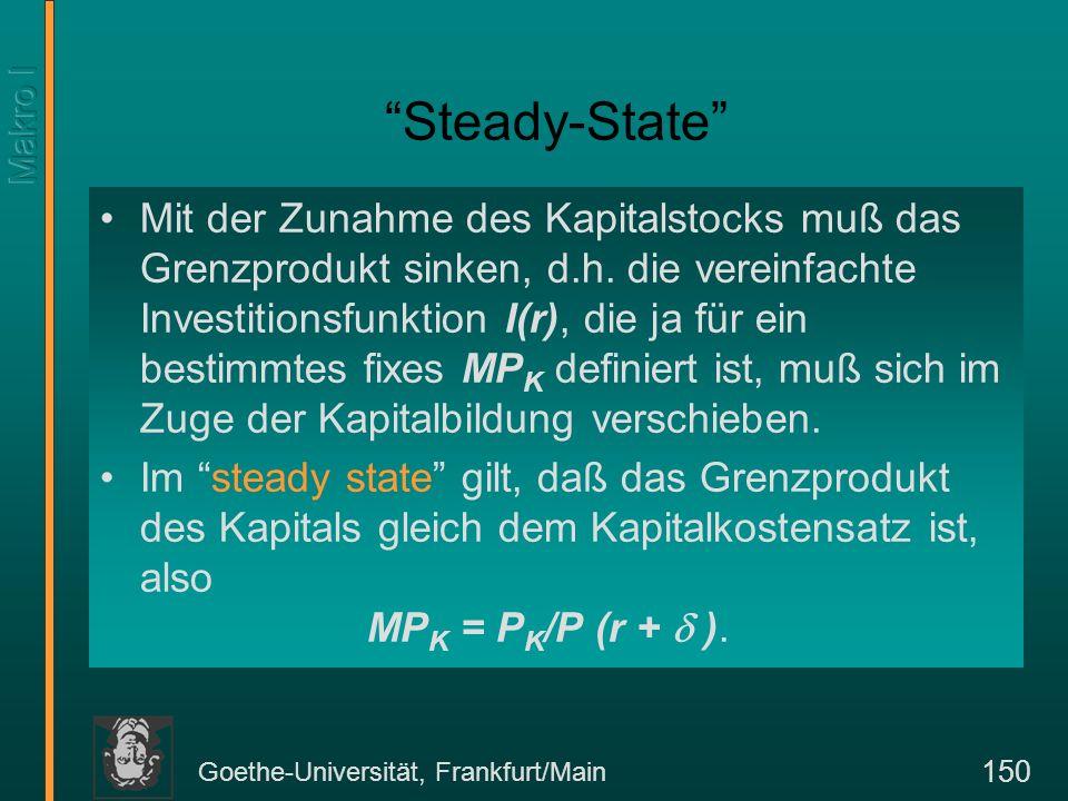 Goethe-Universität, Frankfurt/Main 150 Steady-State Mit der Zunahme des Kapitalstocks muß das Grenzprodukt sinken, d.h. die vereinfachte Investitionsf