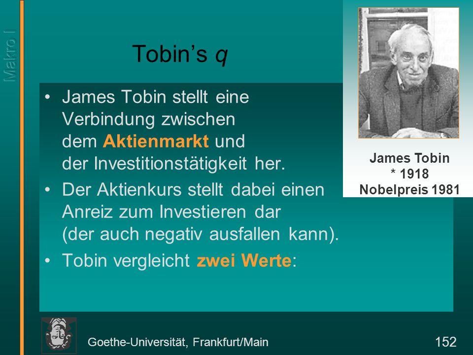Goethe-Universität, Frankfurt/Main 152 Tobins q James Tobin stellt eine Verbindung zwischen dem Aktienmarkt und der Investitionstätigkeit her.