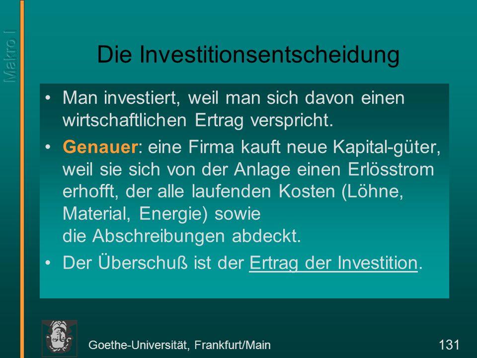 Goethe-Universität, Frankfurt/Main 132 Investitionsrechnung: Beispiel die Zinsschere Kosten für die Zinsschere in (K 0 )1000 Lebensdauer 1 Jahr Erwartete Bruttoerlöse pro Stück1500 Laufende Kosten400 –davon Arbeitskosten (300) –davon Material (100) Erwarteter Nettoerlös pro Stück vor Abschreibungen und Zinsen R 1 1100 Abschreibungen1000 Nettoertrag vor Abzug der Zinsen100 Nettoertrag in % der Investition 10%