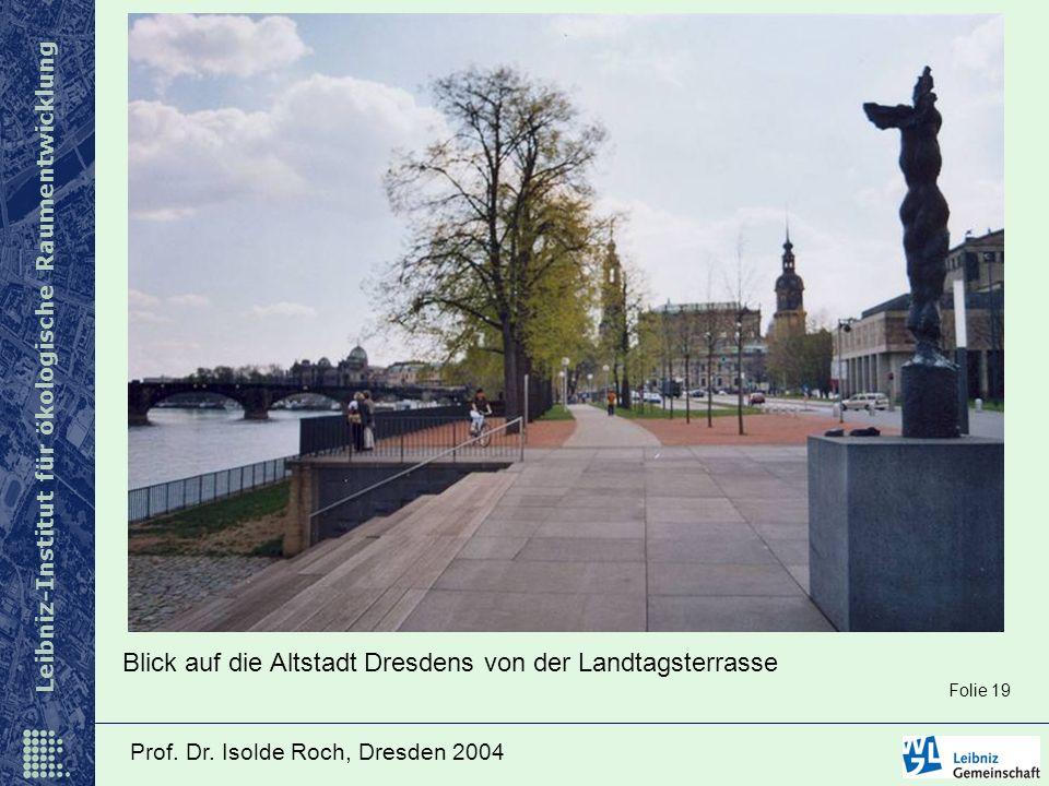 Leibniz-Institut für ökologische Raumentwicklung Prof. Dr. Isolde Roch, Dresden 2004 Blick auf die Altstadt Dresdens von der Landtagsterrasse Folie 19