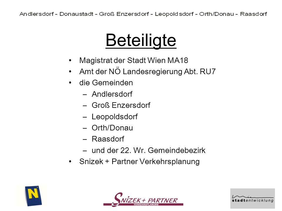 Beteiligte Magistrat der Stadt Wien MA18 Amt der NÖ Landesregierung Abt. RU7 die Gemeinden –Andlersdorf –Groß Enzersdorf –Leopoldsdorf –Orth/Donau –Ra