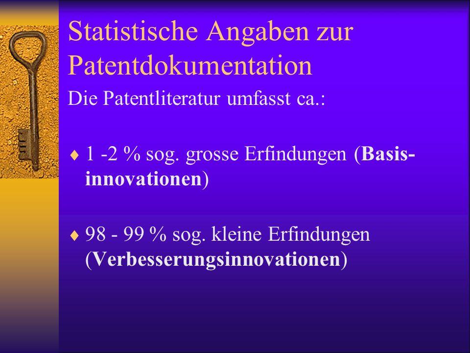 Statistische Angaben zur Patentdokumentation Die Patentliteratur umfasst ca.: 1 -2 % sog. grosse Erfindungen (Basis- innovationen) 98 - 99 % sog. klei