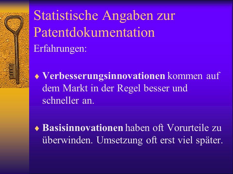 Statistische Angaben zur Patentdokumentation Erfahrungen: Verbesserungsinnovationen kommen auf dem Markt in der Regel besser und schneller an. Basisin