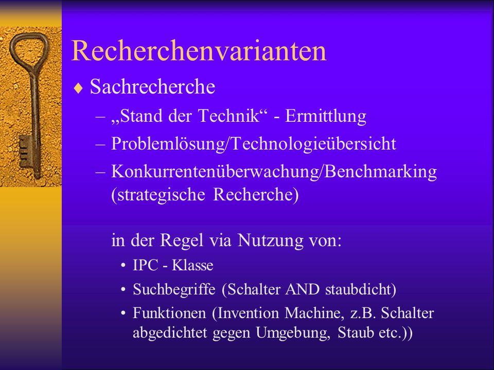 Recherchenvarianten Sachrecherche –Stand der Technik - Ermittlung –Problemlösung/Technologieübersicht –Konkurrentenüberwachung/Benchmarking (strategis