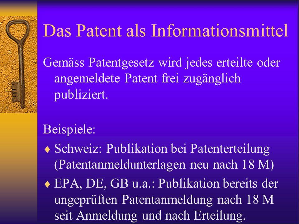 Das Patent als Informationsmittel Gemäss Patentgesetz wird jedes erteilte oder angemeldete Patent frei zugänglich publiziert. Beispiele: Schweiz: Publ