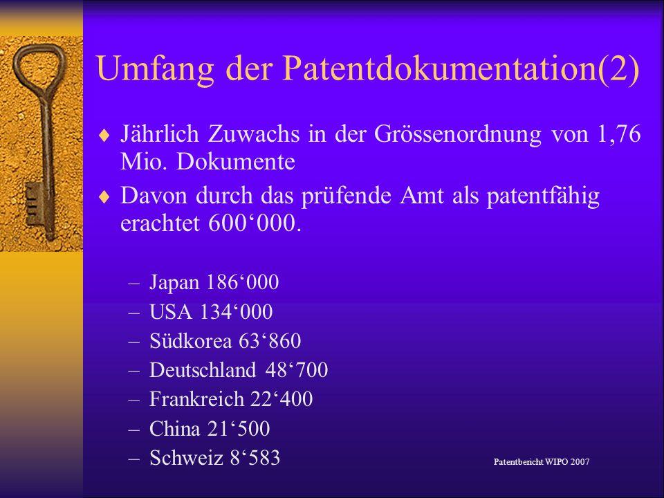 Umfang der Patentdokumentation(2) Jährlich Zuwachs in der Grössenordnung von 1,76 Mio. Dokumente Davon durch das prüfende Amt als patentfähig erachtet