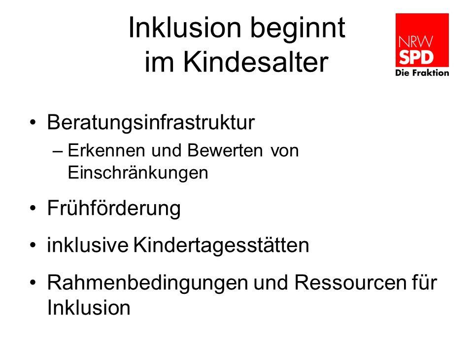 Inklusion beginnt im Kindesalter Beratungsinfrastruktur –Erkennen und Bewerten von Einschränkungen Frühförderung inklusive Kindertagesstätten Rahmenbe