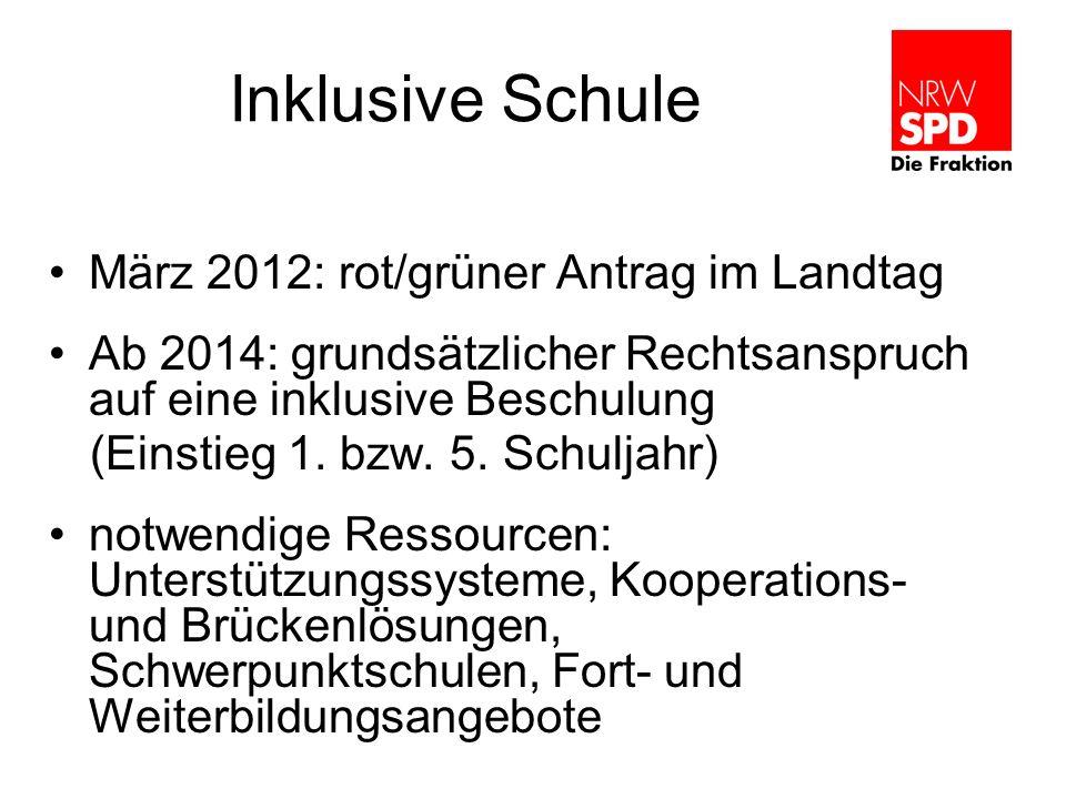 Inklusive Schule März 2012: rot/grüner Antrag im Landtag Ab 2014: grundsätzlicher Rechtsanspruch auf eine inklusive Beschulung (Einstieg 1. bzw. 5. Sc