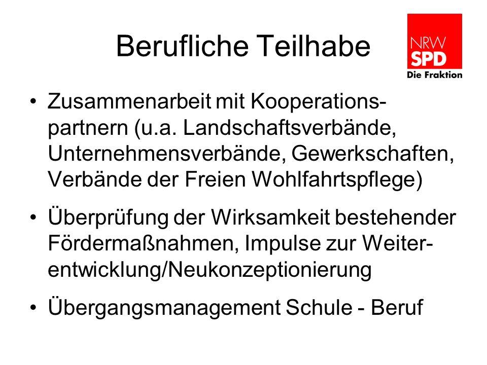 Berufliche Teilhabe Zusammenarbeit mit Kooperations- partnern (u.a. Landschaftsverbände, Unternehmensverbände, Gewerkschaften, Verbände der Freien Woh