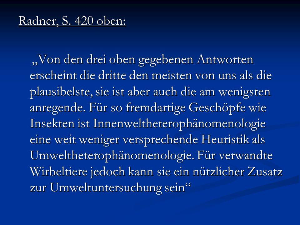 Radner, S. 420 oben: Von den drei oben gegebenen Antworten erscheint die dritte den meisten von uns als die plausibelste, sie ist aber auch die am wen