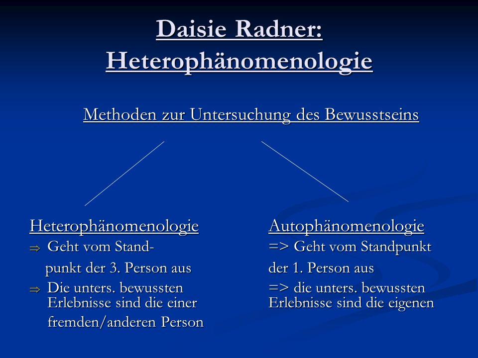 Daisie Radner: Heterophänomenologie Methoden zur Untersuchung des Bewusstseins Heterophänomenologie Autophänomenologie Geht vom Stand-=> Geht vom Stan