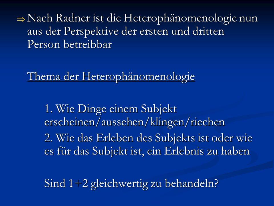 Nach Radner ist die Heterophänomenologie nun aus der Perspektive der ersten und dritten Person betreibbar Nach Radner ist die Heterophänomenologie nun aus der Perspektive der ersten und dritten Person betreibbar Thema der Heterophänomenologie 1.