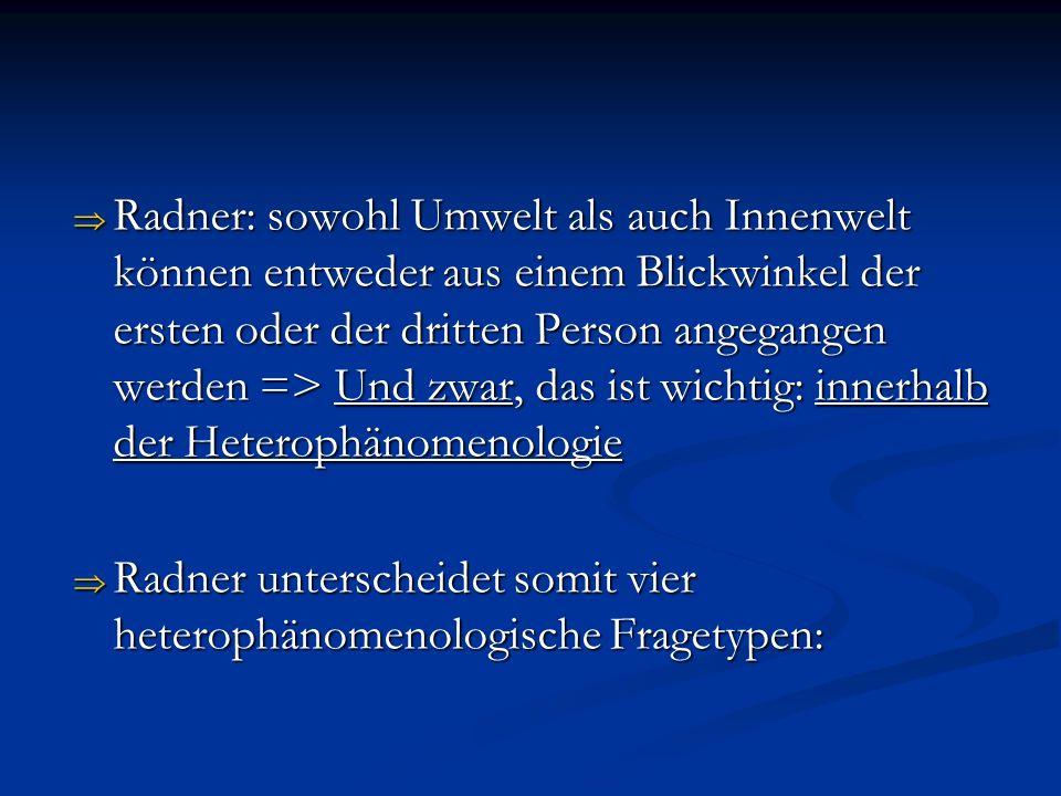 Heterophänomenologie mit Blick auf Die InnenweltDie Umwelt eines eines TieresTieres 1.