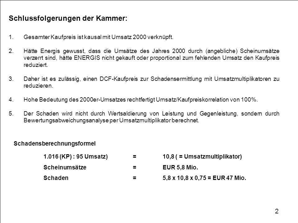 Berechnungsfehler Fehler 1: Bluetrix-Umsätze Die Kammer geht davon aus, dass die maßgeblichen DCF-Bewertungen vom 28./29.11.2000 ohne die Bluetrix-Umsätze in Höhe von EUR 2,7 Mio.