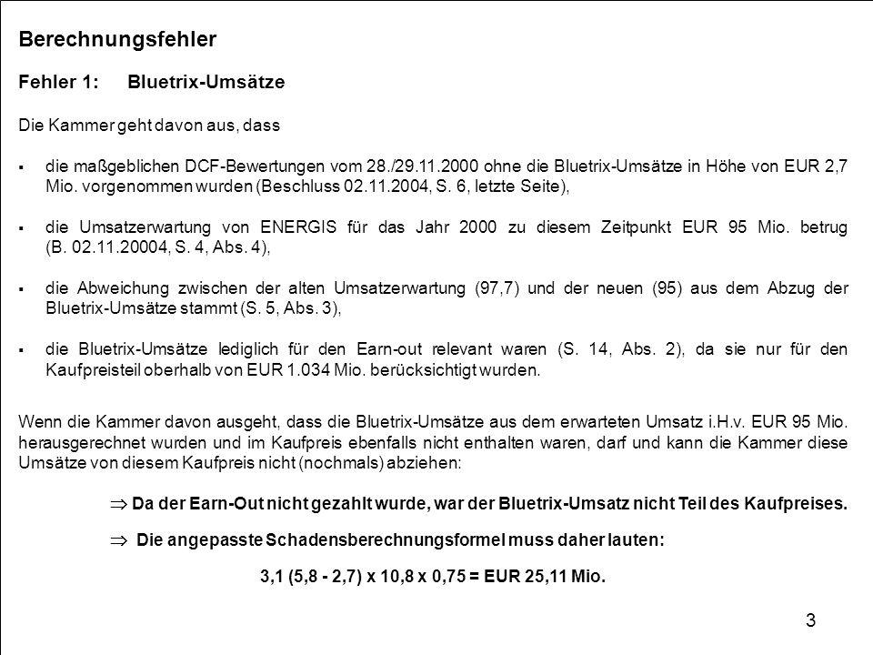 Berechnungsfehler Fehler 1: Bluetrix-Umsätze Die Kammer geht davon aus, dass die maßgeblichen DCF-Bewertungen vom 28./29.11.2000 ohne die Bluetrix-Ums
