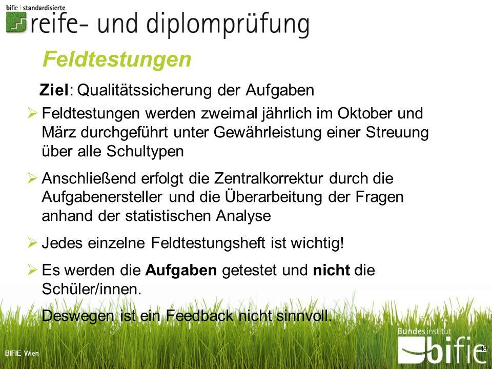 BIFIE Wien Ziel: Qualitätssicherung der Aufgaben Feldtestungen werden zweimal jährlich im Oktober und März durchgeführt unter Gewährleistung einer Str