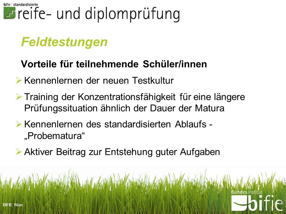BIFIE Wien Vorteile für teilnehmende Schüler/innen Kennenlernen der neuen Testkultur Training der Konzentrationsfähigkeit für eine längere Prüfungssit