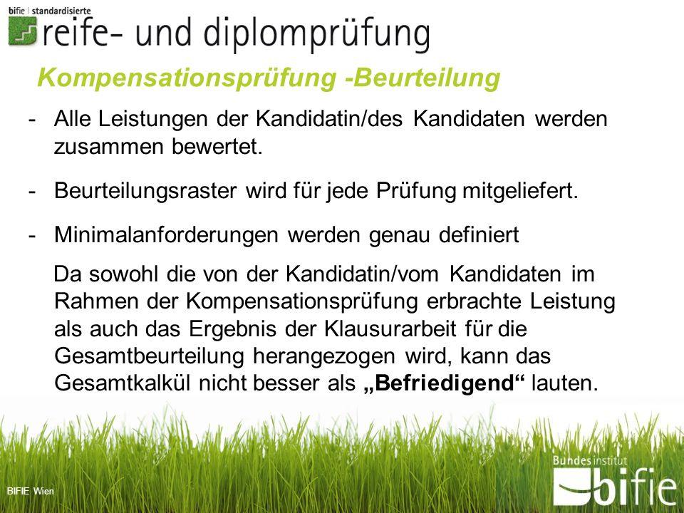BIFIE Wien Kompensationsprüfung -Beurteilung -Alle Leistungen der Kandidatin/des Kandidaten werden zusammen bewertet. -Beurteilungsraster wird für jed