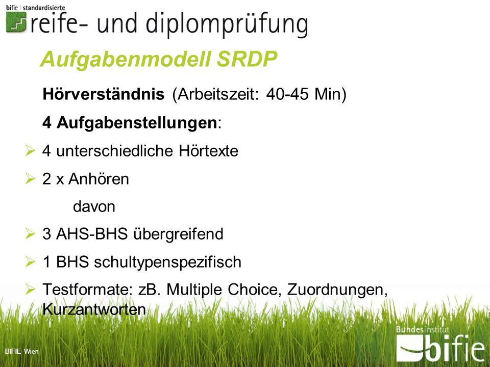 BIFIE Wien Hörverständnis (Arbeitszeit: 40-45 Min) 4 Aufgabenstellungen: 4 unterschiedliche Hörtexte 2 x Anhören davon 3 AHS-BHS übergreifend 1 BHS sc