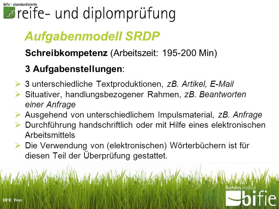 BIFIE Wien Schreibkompetenz (Arbeitszeit: 195-200 Min) 3 Aufgabenstellungen: 3 unterschiedliche Textproduktionen, zB. Artikel, E-Mail Situativer, hand