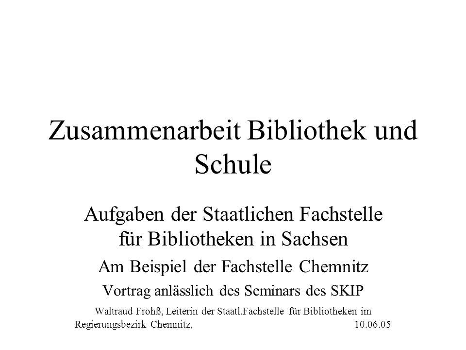 Zusammenarbeit Bibliothek und Schule Aufgaben der Staatlichen Fachstelle für Bibliotheken in Sachsen Am Beispiel der Fachstelle Chemnitz Vortrag anläs