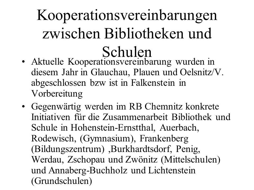 Kooperationsvereinbarungen zwischen Bibliotheken und Schulen Aktuelle Kooperationsvereinbarung wurden in diesem Jahr in Glauchau, Plauen und Oelsnitz/