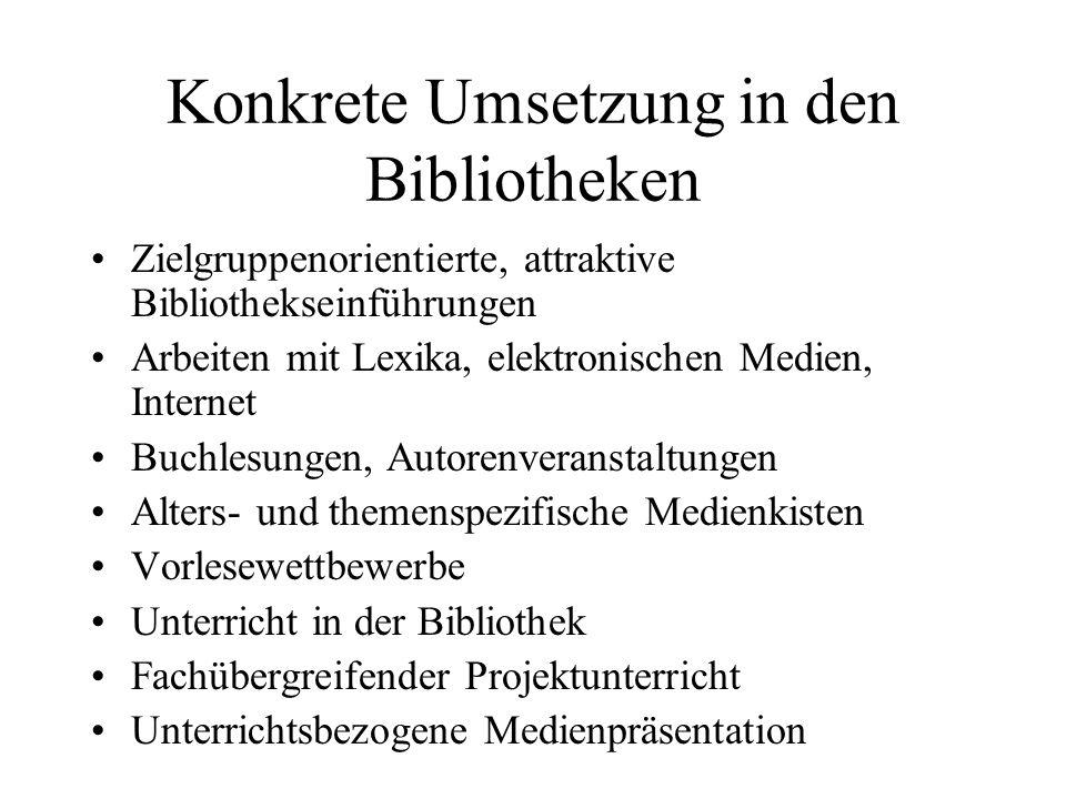 Konkrete Umsetzung in den Bibliotheken Zielgruppenorientierte, attraktive Bibliothekseinführungen Arbeiten mit Lexika, elektronischen Medien, Internet