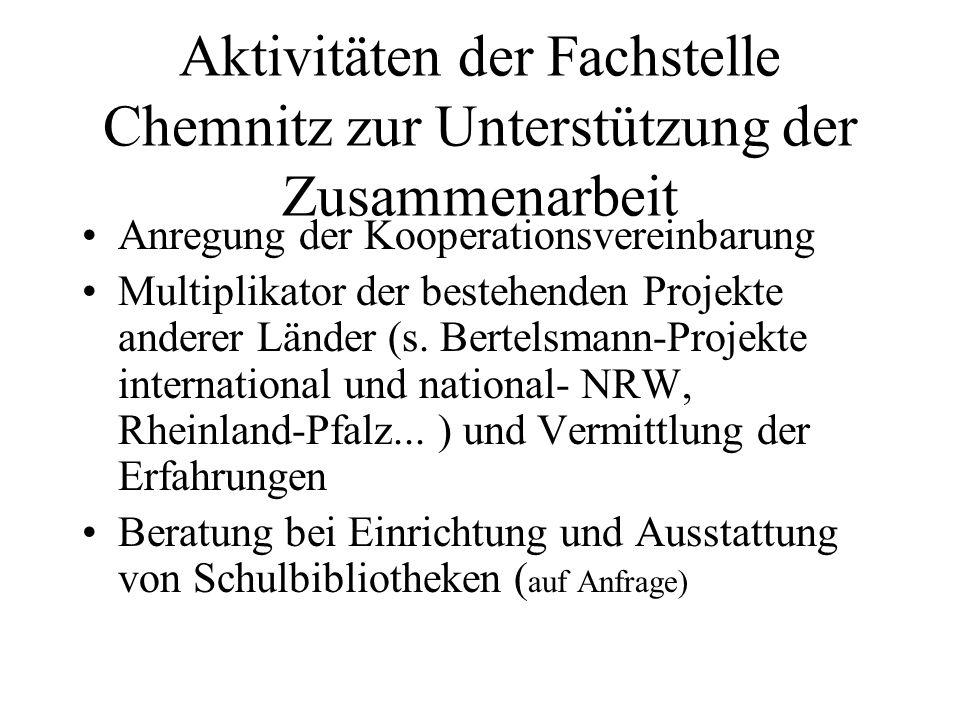 Aktivitäten der Fachstelle Chemnitz zur Unterstützung der Zusammenarbeit Anregung der Kooperationsvereinbarung Multiplikator der bestehenden Projekte