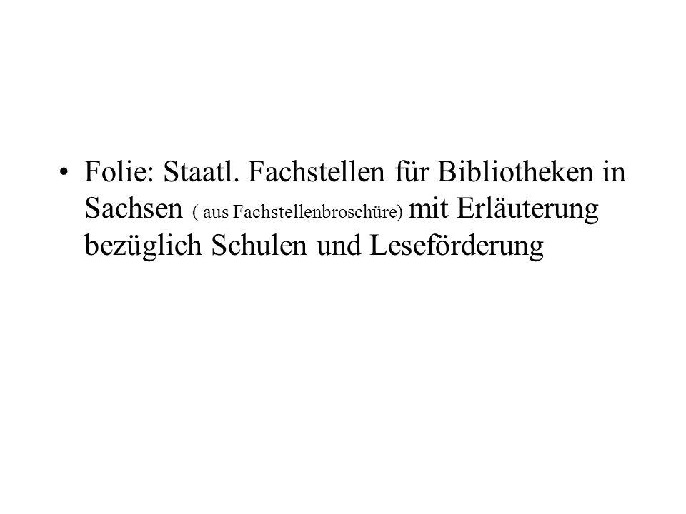Zusammenarbeit Bibliothek und Schule Orte in Sachsen 519 Anzahl der Bibliotheken 566 Davon: 222 ÖB/H 344 ÖB/N Schulen 1.492 Davon: 860 GS, 473 MS 159 Gymn.