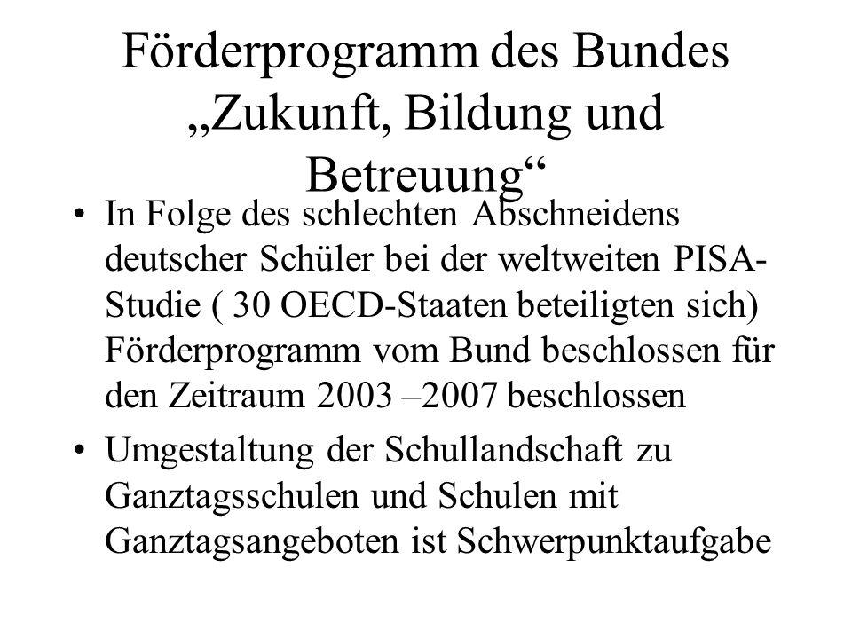 Förderprogramm des Bundes Zukunft, Bildung und Betreuung In Folge des schlechten Abschneidens deutscher Schüler bei der weltweiten PISA- Studie ( 30 O
