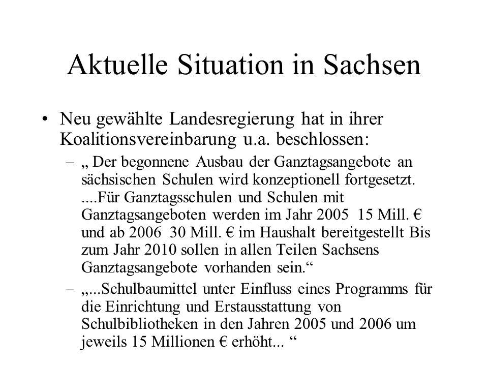 Aktuelle Situation in Sachsen Neu gewählte Landesregierung hat in ihrer Koalitionsvereinbarung u.a. beschlossen: – Der begonnene Ausbau der Ganztagsan