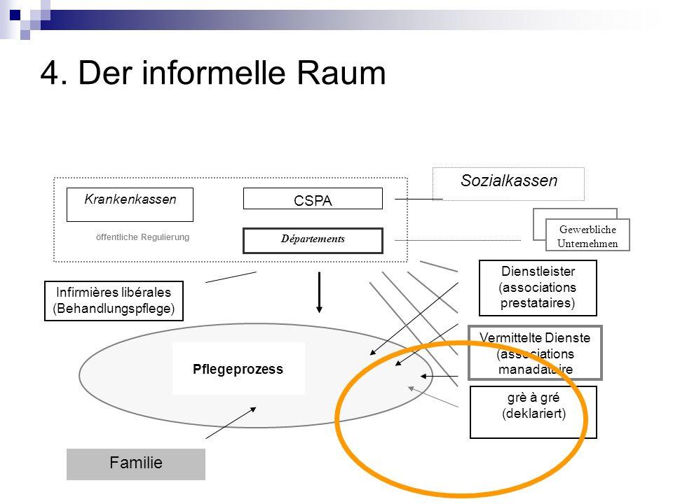 4. Der informelle Raum CSPA Départements Krankenkassen öffentliche Regulierung grè à gré (deklariert) Sozialkassen Gewerbliche Unternehmen Familie Ver