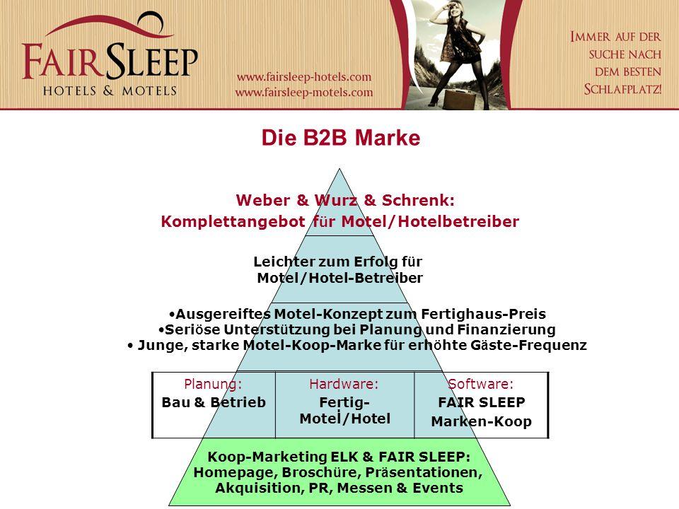 Die B2B Marke Weber & Wurz & Schrenk: Komplettangebot f ü r Motel/Hotelbetreiber Leichter zum Erfolg f ü r Motel/Hotel-Betreiber Ausgereiftes Motel-Ko