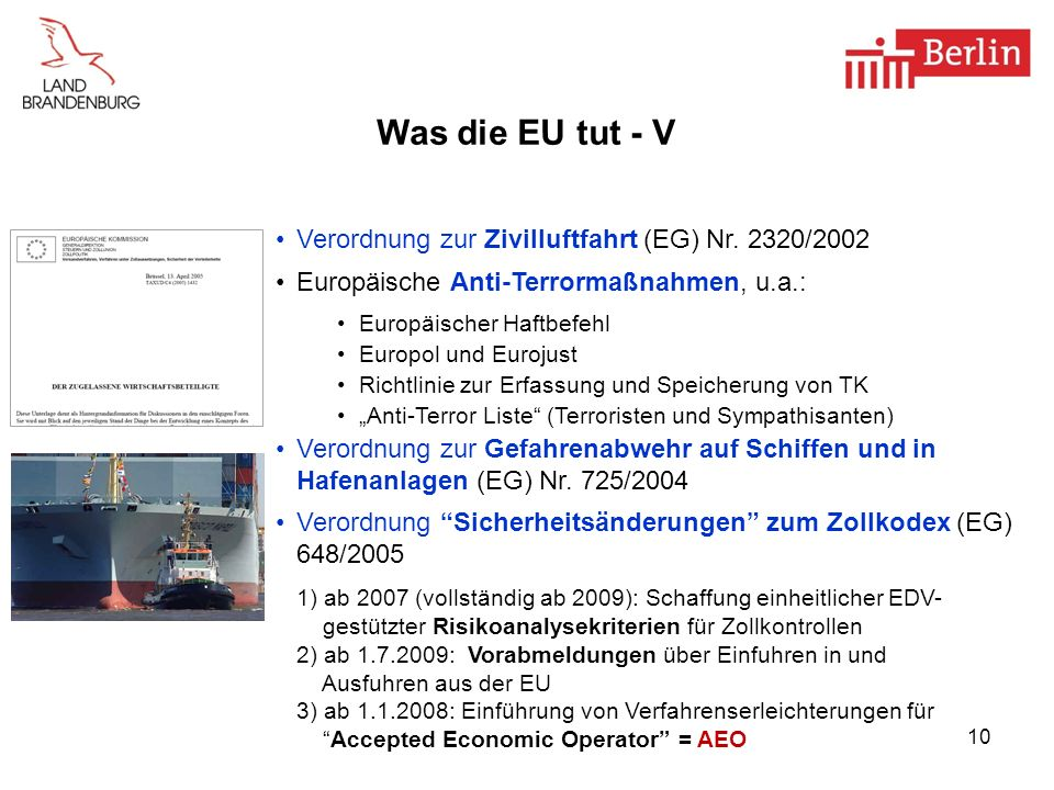 10 Was die EU tut - V Verordnung zur Zivilluftfahrt (EG) Nr. 2320/2002 Europäische Anti-Terrormaßnahmen, u.a.: Europäischer Haftbefehl Europol und Eur