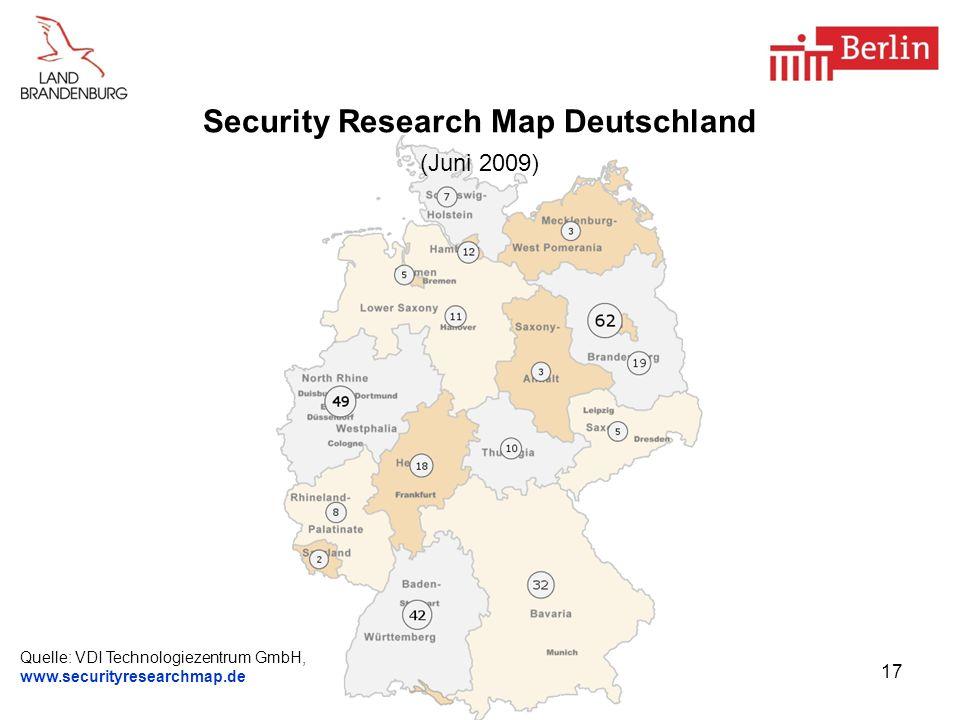 17 Security Research Map Deutschland (Juni 2009) Quelle: VDI Technologiezentrum GmbH, www.securityresearchmap.de