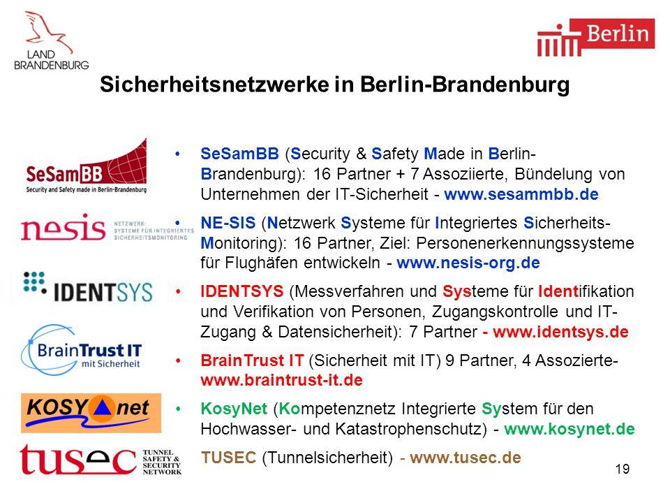 19 Sicherheitsnetzwerke in Berlin-Brandenburg SeSamBB (Security & Safety Made in Berlin- Brandenburg): 16 Partner + 7 Assoziierte, Bündelung von Unter