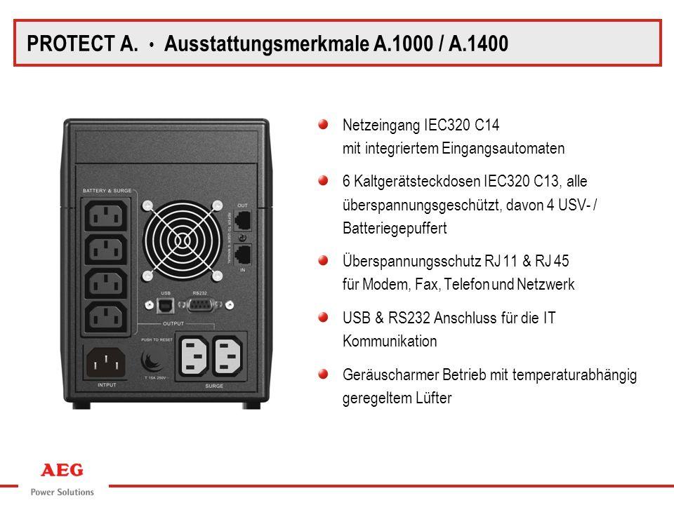 PROTECT A. Rückansicht A.1000 / A.1400 PROTECT A. Ausstattungsmerkmale A.1000 / A.1400 Netzeingang IEC320 C14 mit integriertem Eingangsautomaten 6 Kal