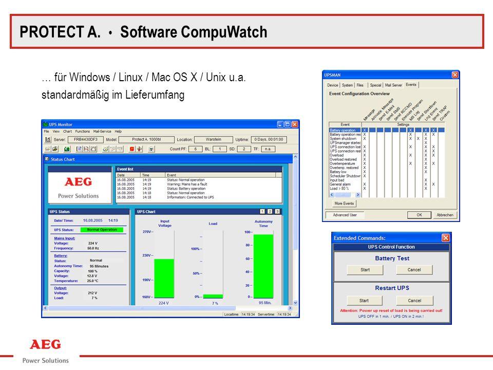 … für Windows / Linux / Mac OS X / Unix u.a. standardmäßig im Lieferumfang PROTECT A. Software CompuWatch